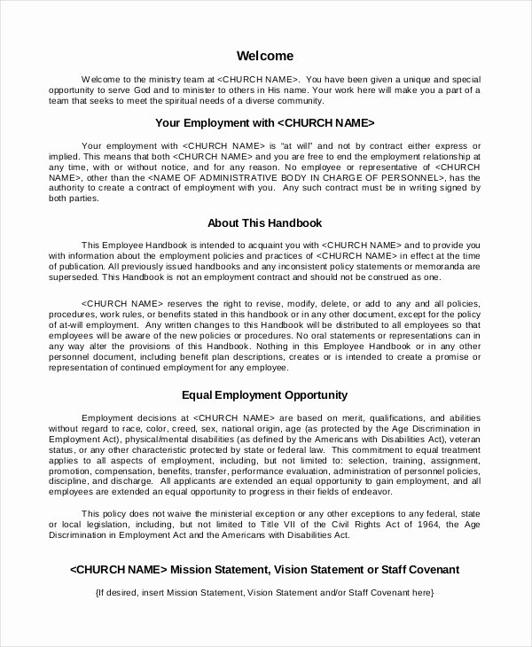 Employee Handbook Template 12 Free Sample Example