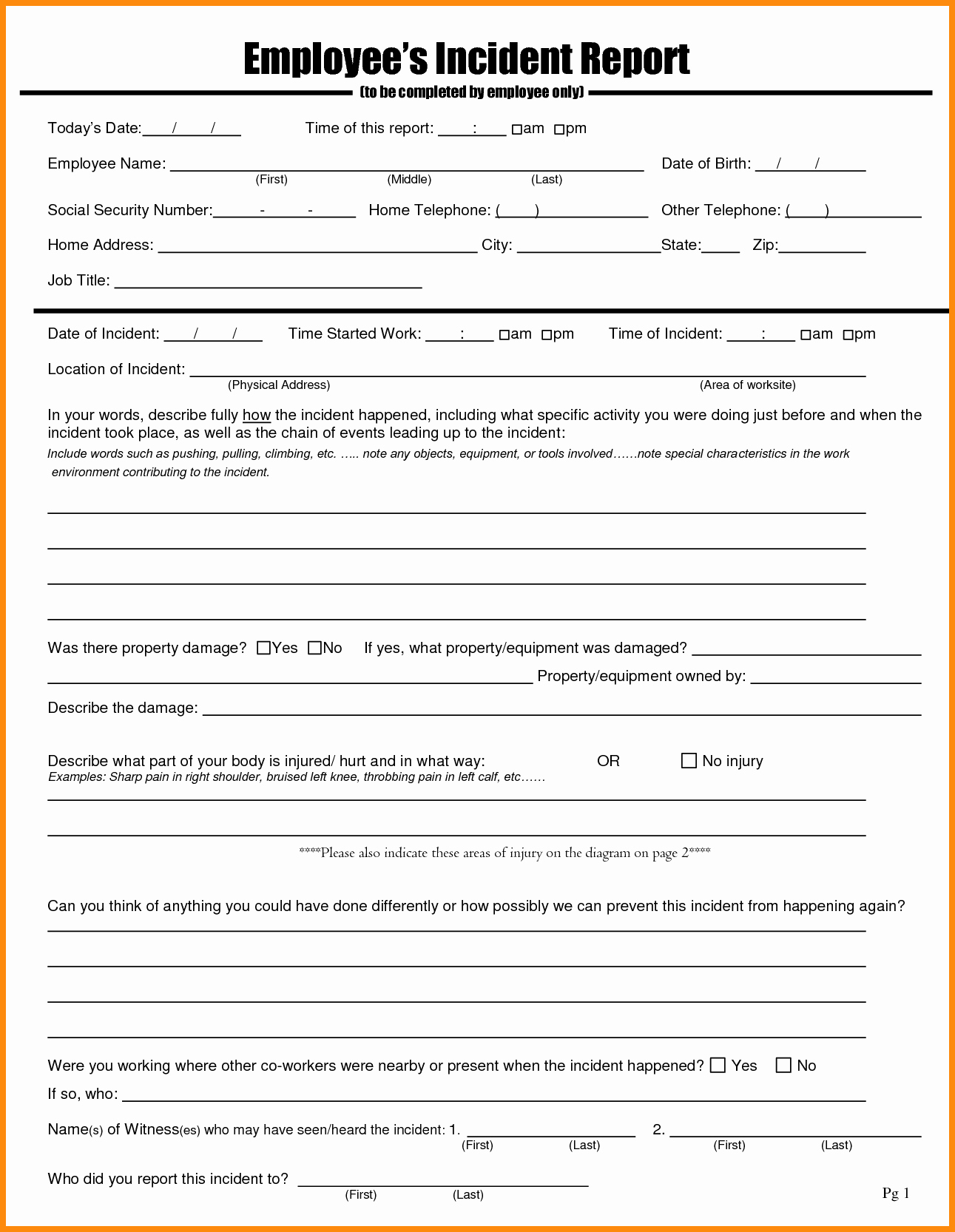 Employee Incident Report Template Beautiful Template