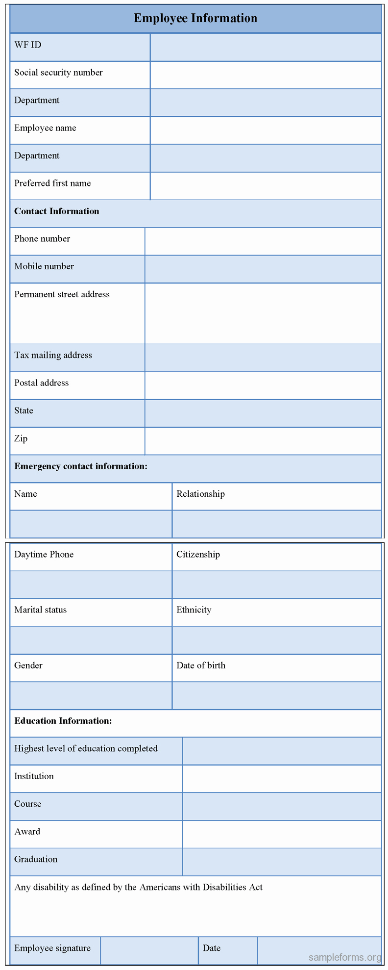 Employee Information form Sample forms