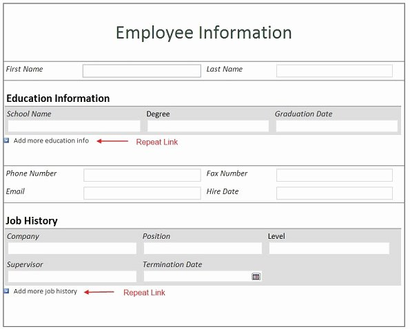 Employee Information form Template