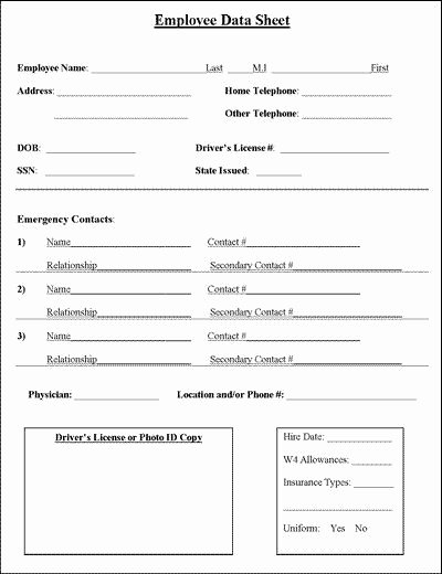 Employee Information Sheet Business