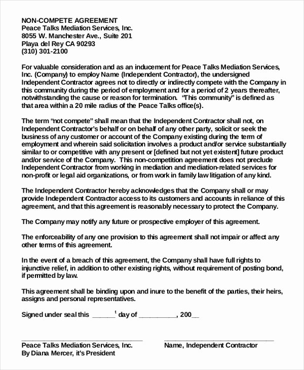 Employee Non Pete Agreement – 10 Free Word Pdf