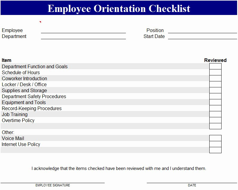 Employee orientation Template My Excel Templates