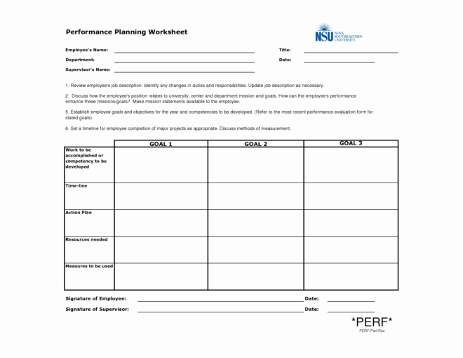 Employee Performance Planning Worksheet Template Example