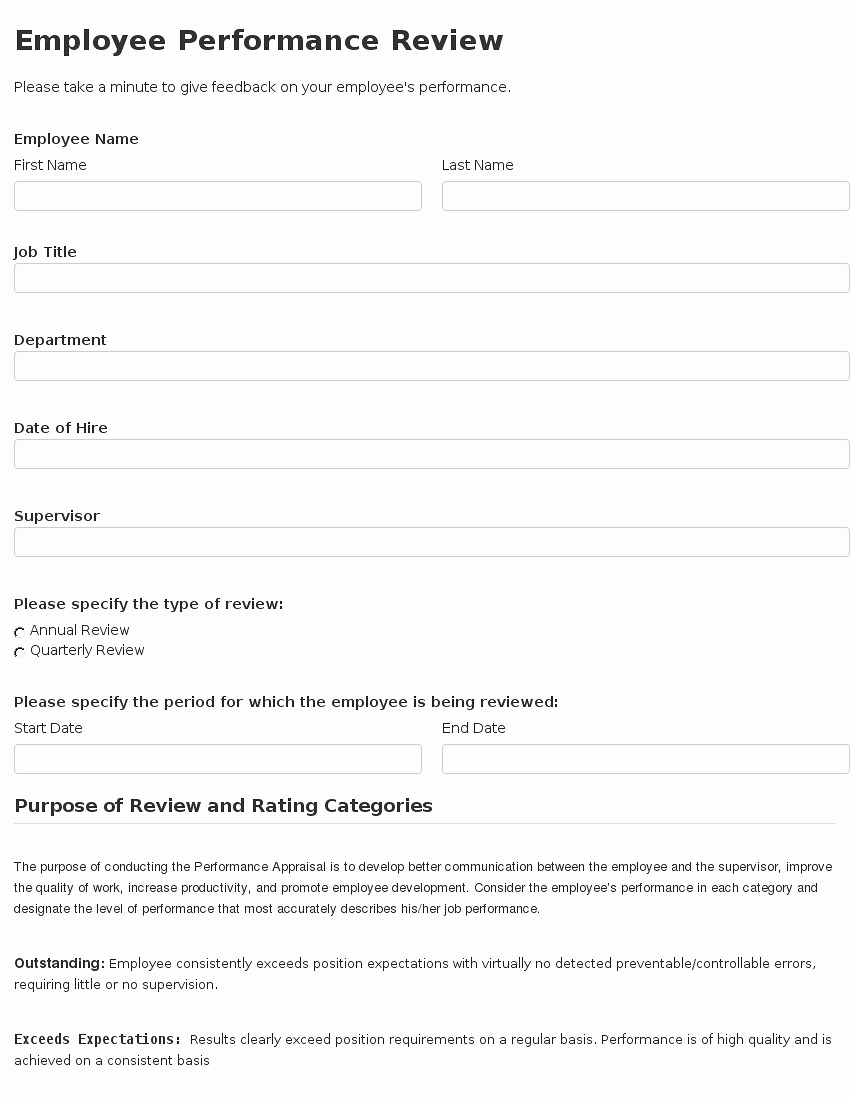 Employee Performance Review Template Review Mughals
