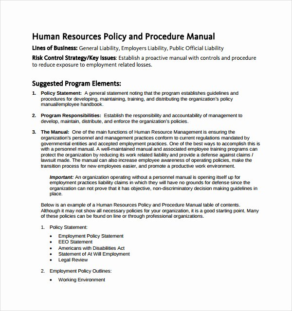 Employee Policy and Procedure Manual Template Pccc
