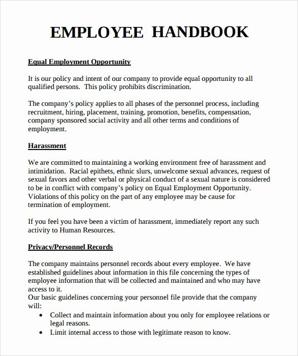 Employee Policy Handbook Sample Templates Resume