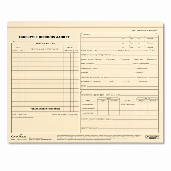 Employee Records Jackets Letter Size