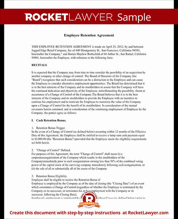 Employee Retention Agreement Template with Sample