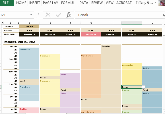Employee Schedule & Hourly Increment Template for Excel