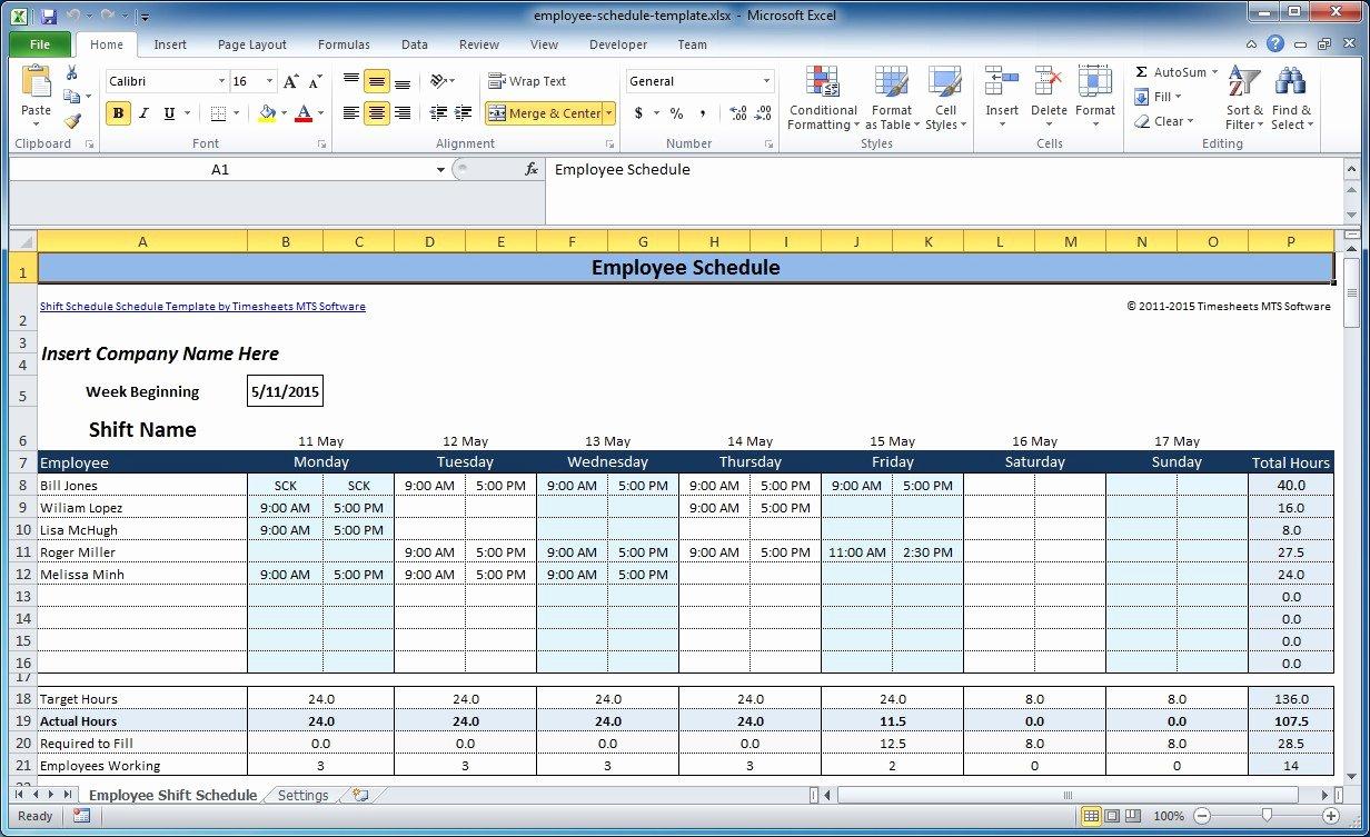 Employee Schedule Template Excel Mac