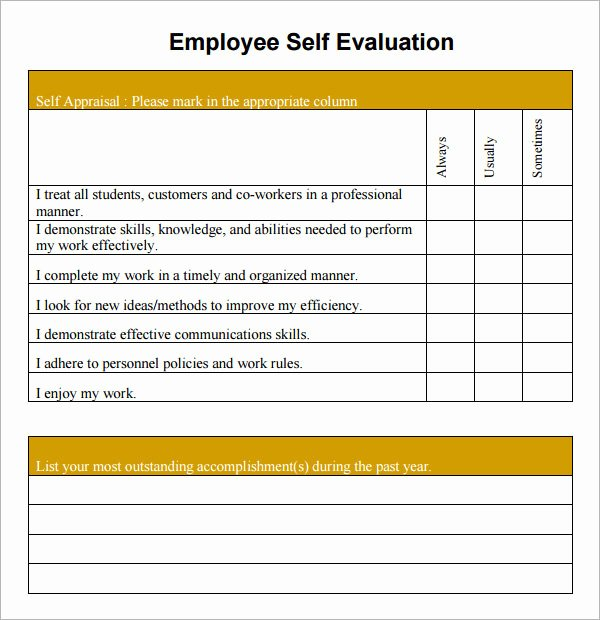 Employee Self Evaluation form Template Templates