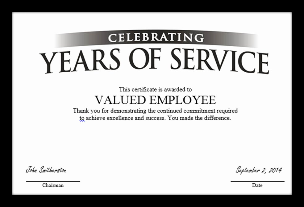 Employee Service Award Certificate Template Templates