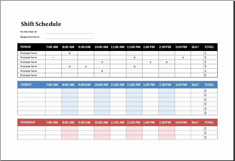 Employee Shift Schedule Template Ms Excel