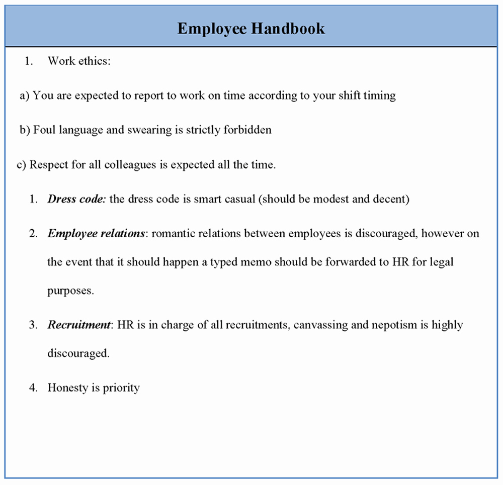 Employee Template for Handbook Sample Of Employee