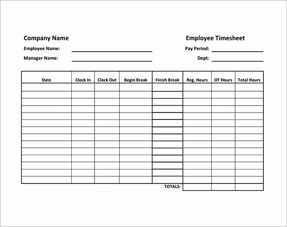 Employee Timesheet Sample 11 Documents In Word Excel Pdf
