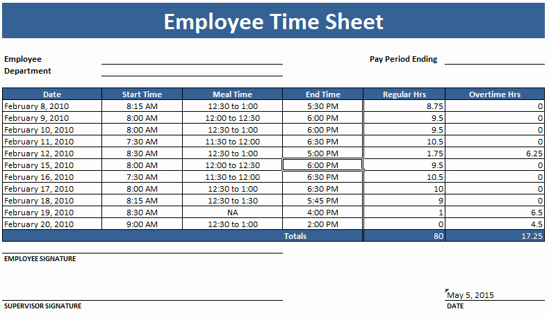 Employee Timesheet Template Weekly and Monthly