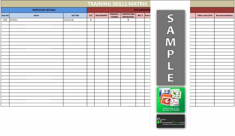 Employee Training Matrix Template Excel Download