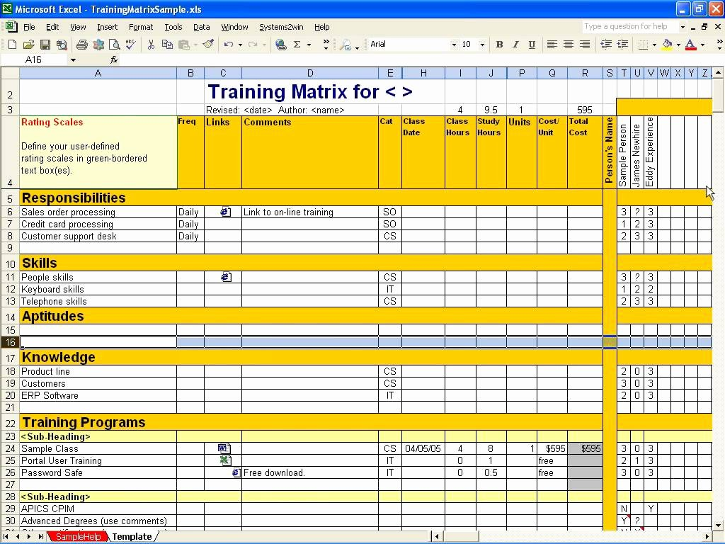employee training matrix template excel 4184