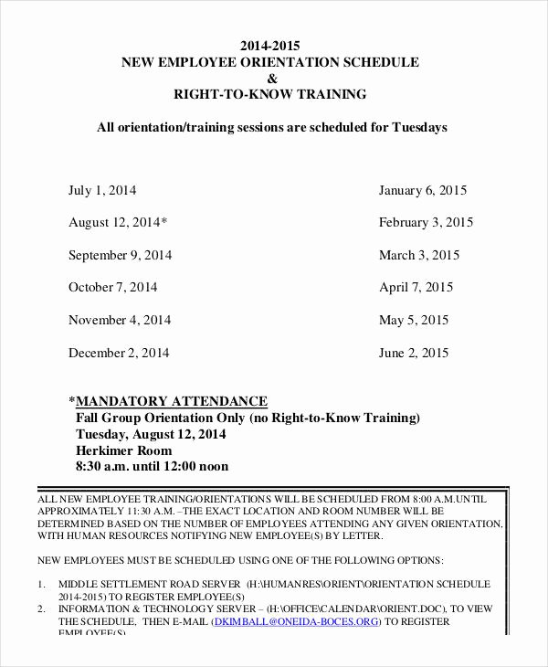 Employee Training Schedule Template 14 Free Word Pdf