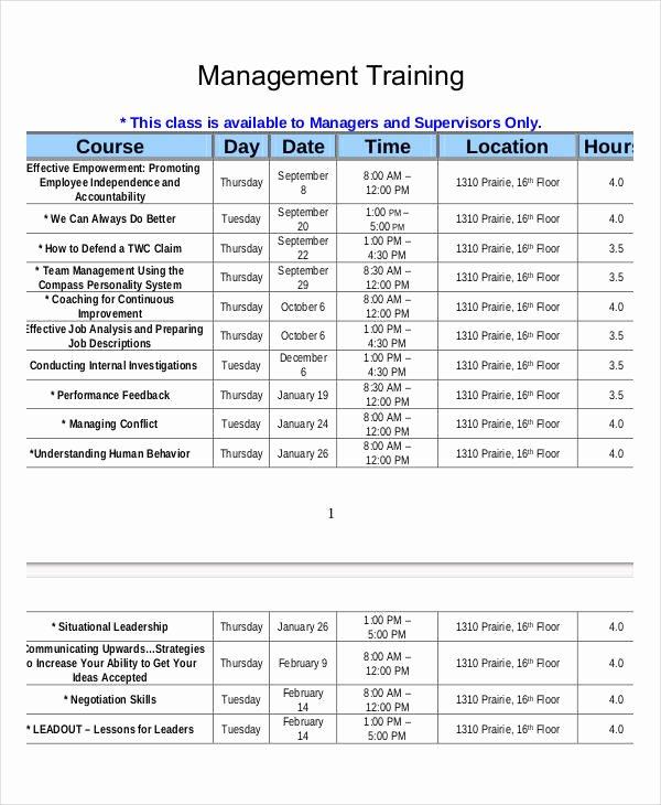 Employee Training Schedule Template 14 Free Word Pdf
