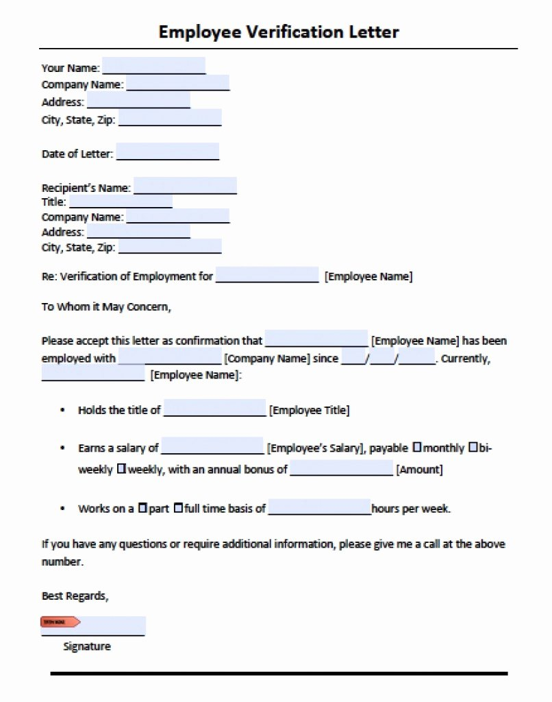 Employee Verification Letter Template