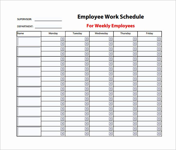 Employee Work Schedule Template – 10 Free Word Excel