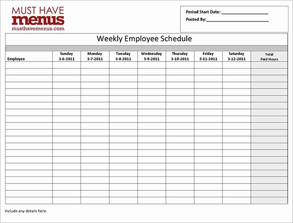 Employee Work Schedule Template 16 Free Word Excel