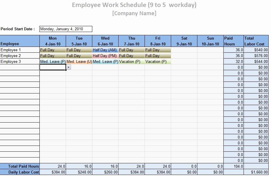 Employee Work Schedule Template Word Excel