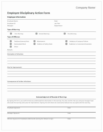 Employee Write Up form Template Example for All More