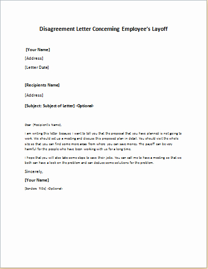 Employees Layoff Disagreement Letter