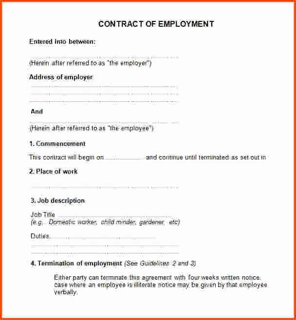 Employment Agreement Template Free Employee
