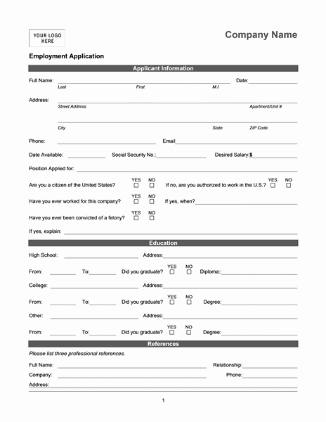 Employment Application Online