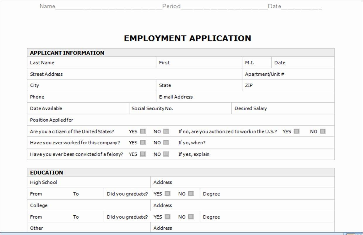 Employment Application Template Microsoft Word Templates
