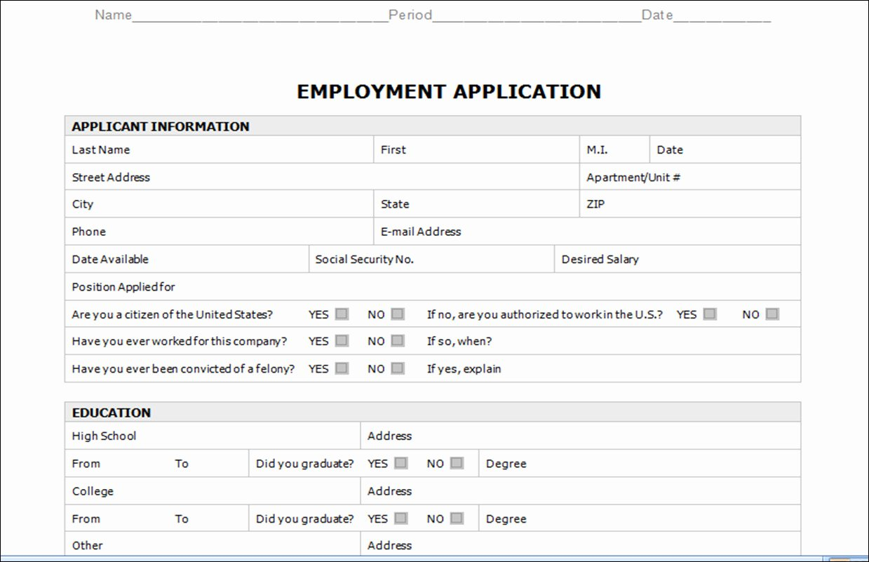 Employment Application Template Microsoft Word Templates