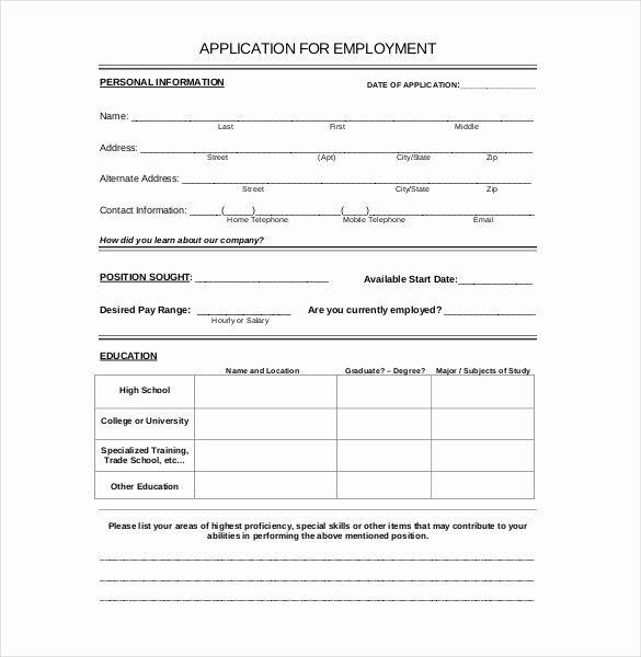 Employment Application Templates – 10 Free Word Pdf