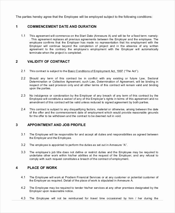 Employment Contract Template 15 Free Sample Example