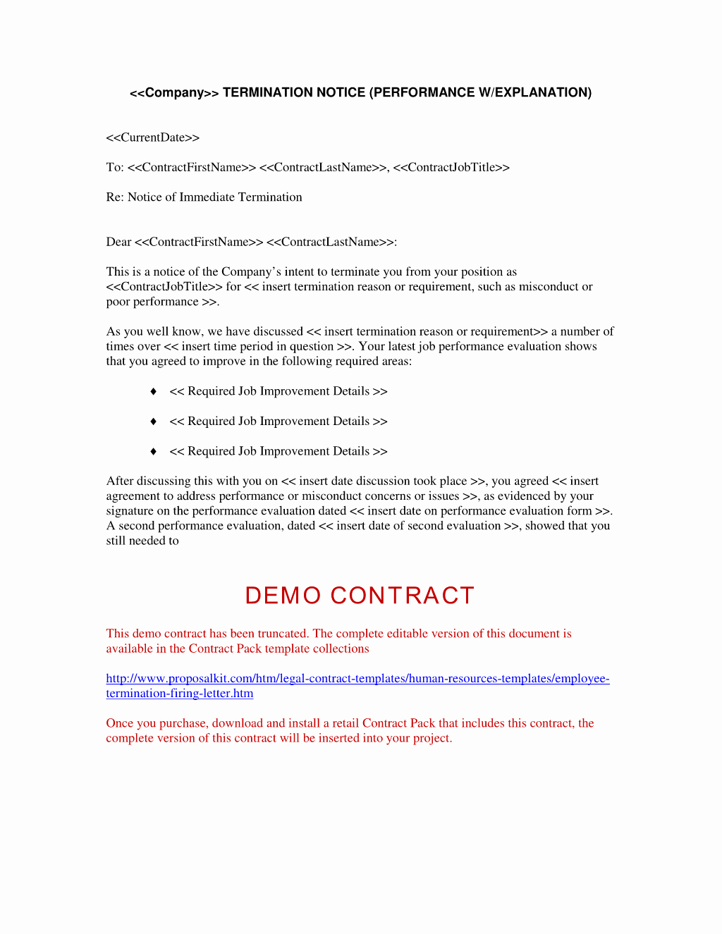 Employment Contract Termination Letter Free Printable