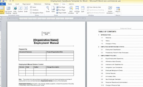 Employment Handbook Template for Word