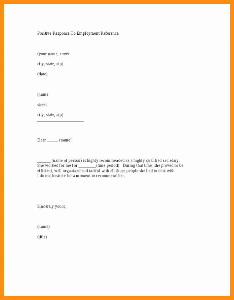 Employment Reference Letter Sample Template Printable