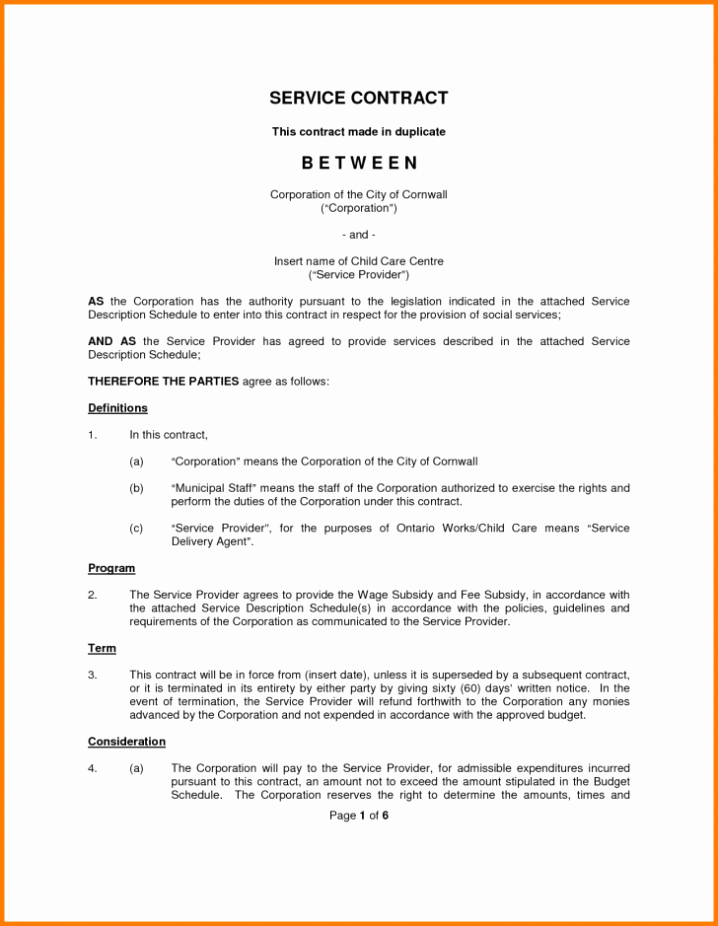 Employment Rental & Service Contract Template