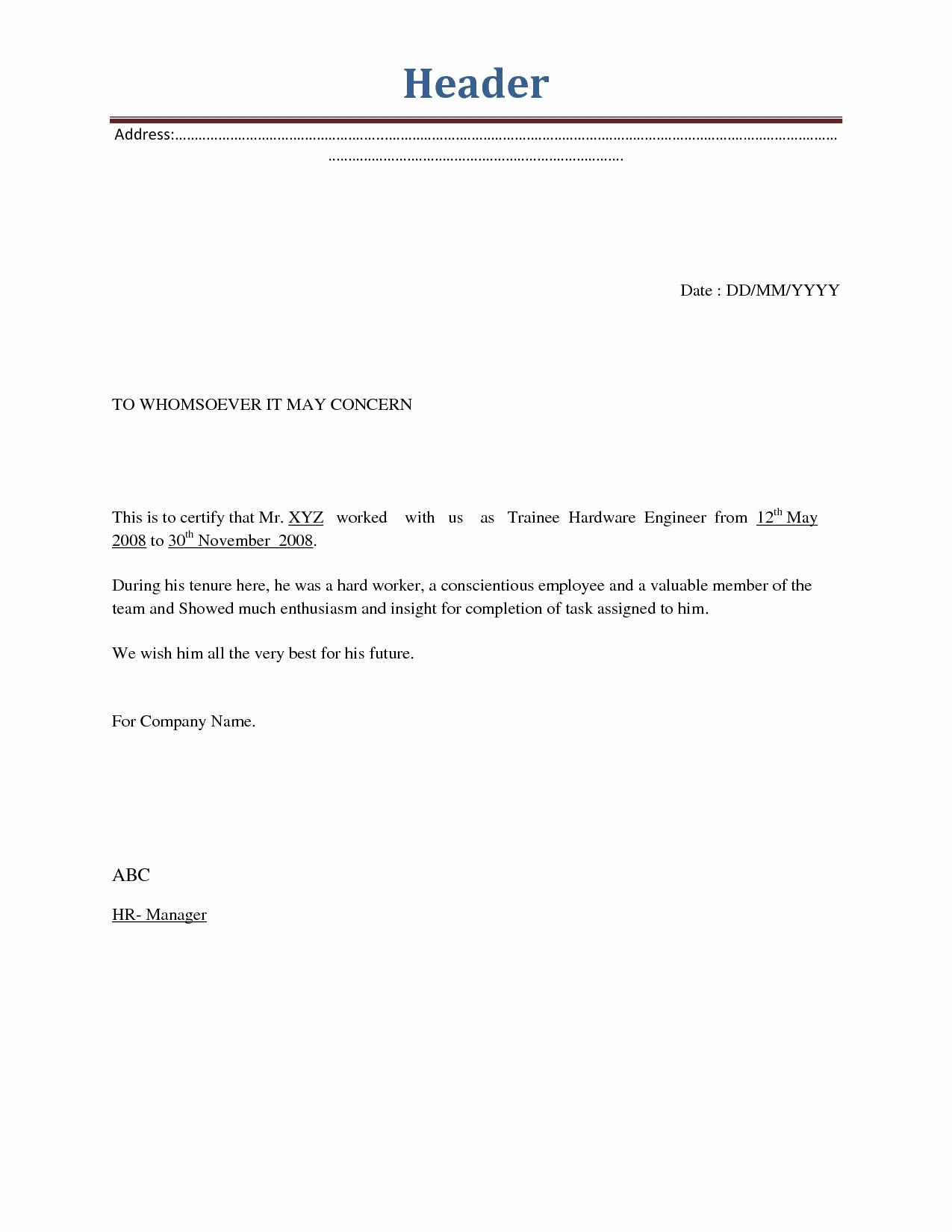 Employment Separation Letter Template