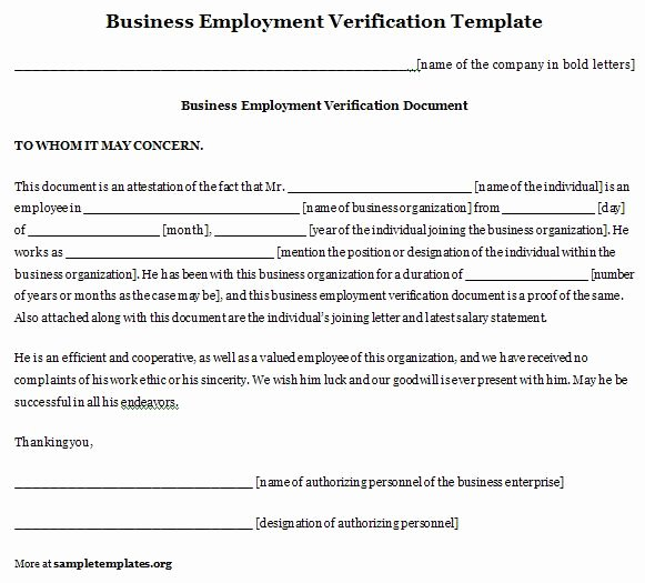 Employment Template for Business Verification format Of