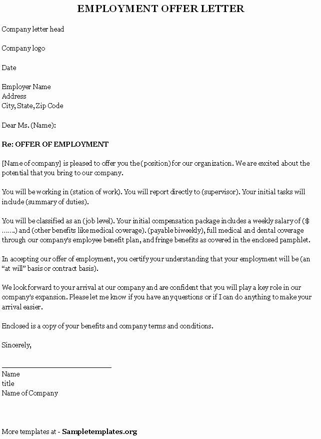 Employment Template for Fer Letter Sample Of Employment