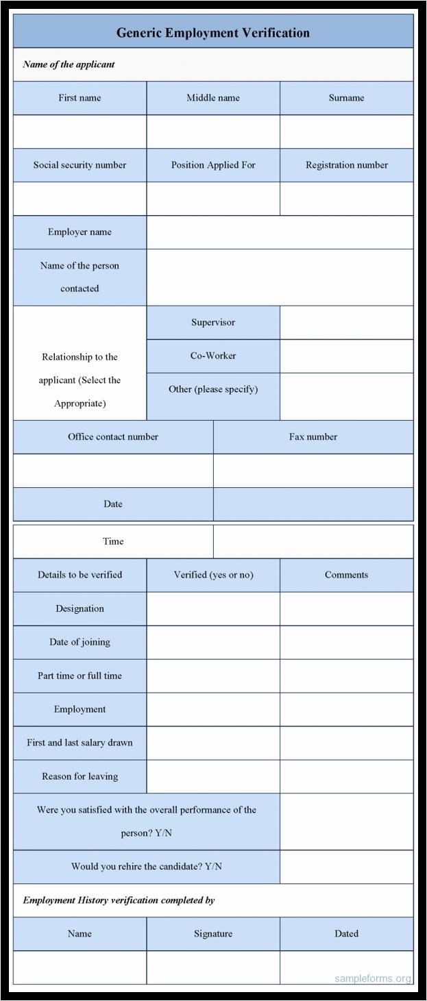 Employment Verification form Template Example Mughals
