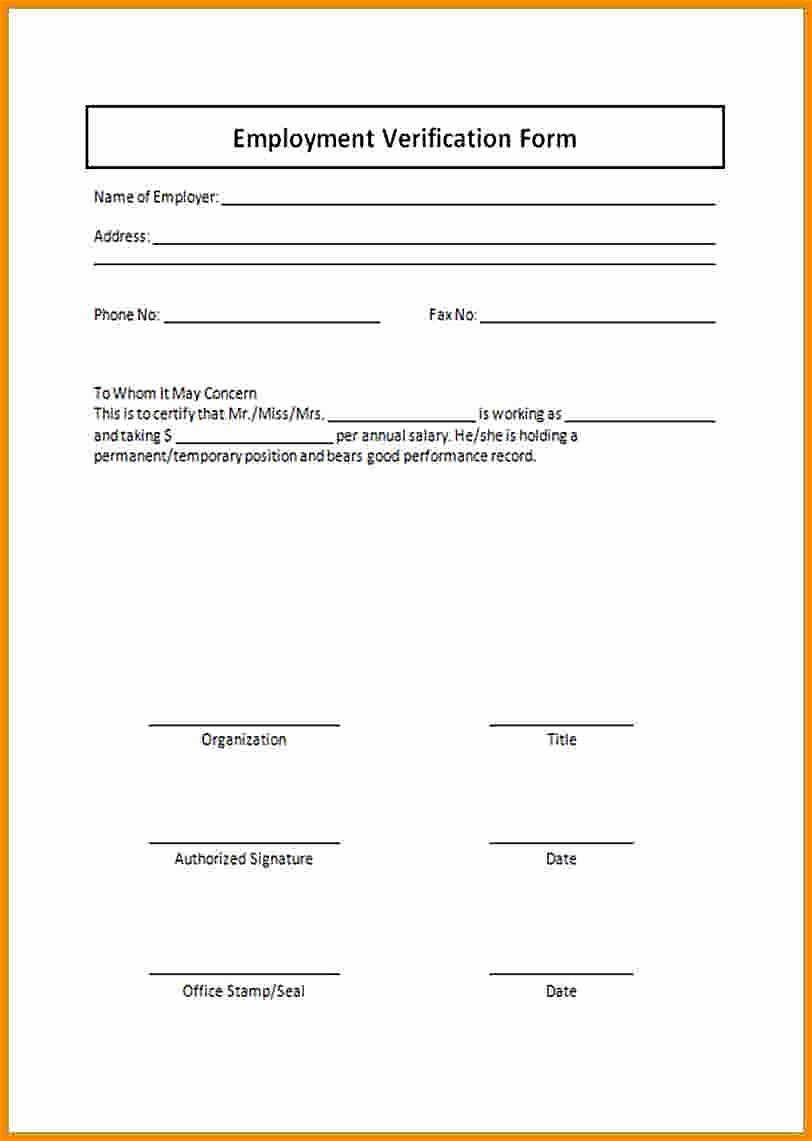 employment verification form template example