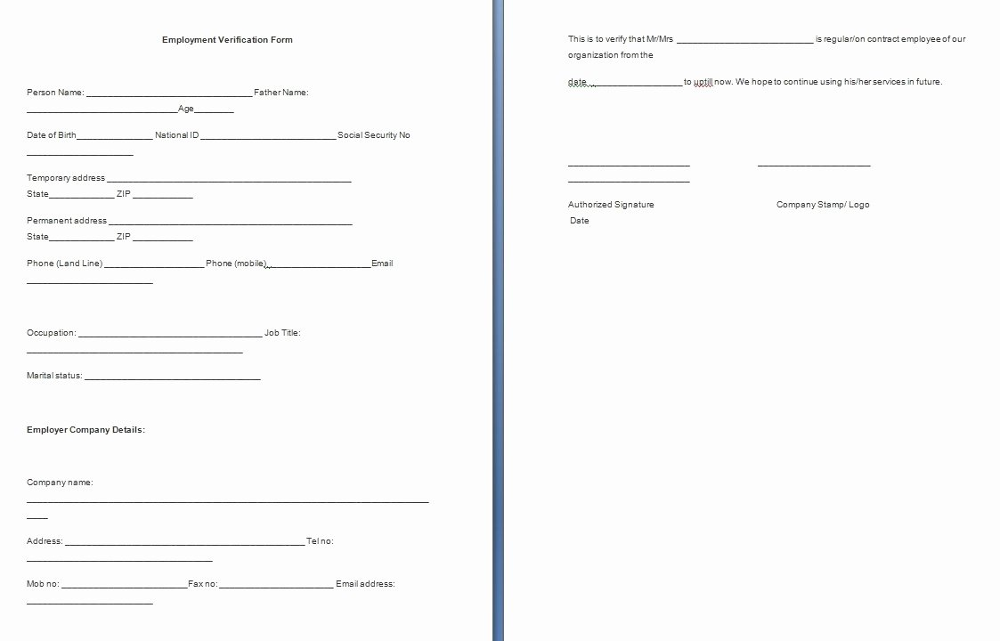 Employment Verification form Template Free formats Excel