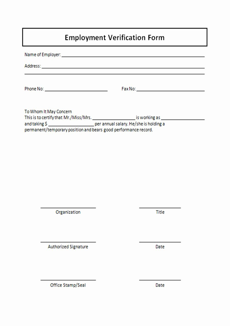Employment Verification form Template Free Printable