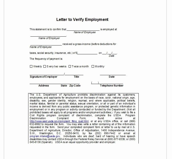 Employment Verification Letter top form Templates