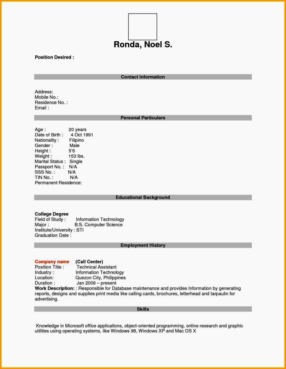 Empty Resume format Pdf Resume Template